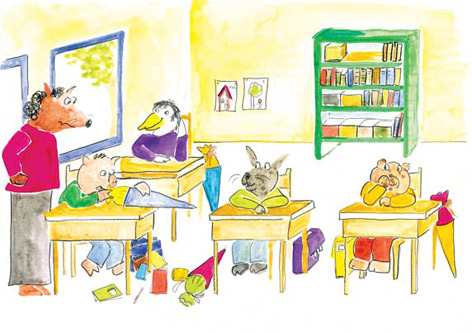 Aquarellzeichnung aus dem Klassenzimmer von Schweinchen Bruno