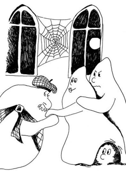 drei Gespenster im Schloss, Schwarz-weiß Zeichnung