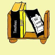 gemaltes Bücherregal mit Gruselbüchern und Brunobuch